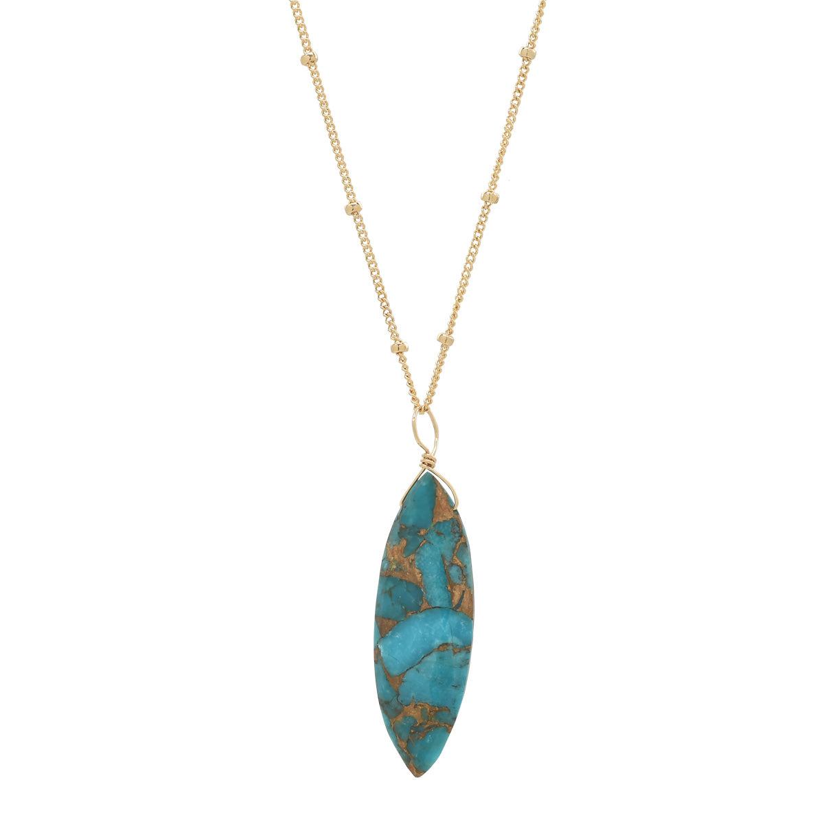 Mojave Turquoise Marquise Necklace