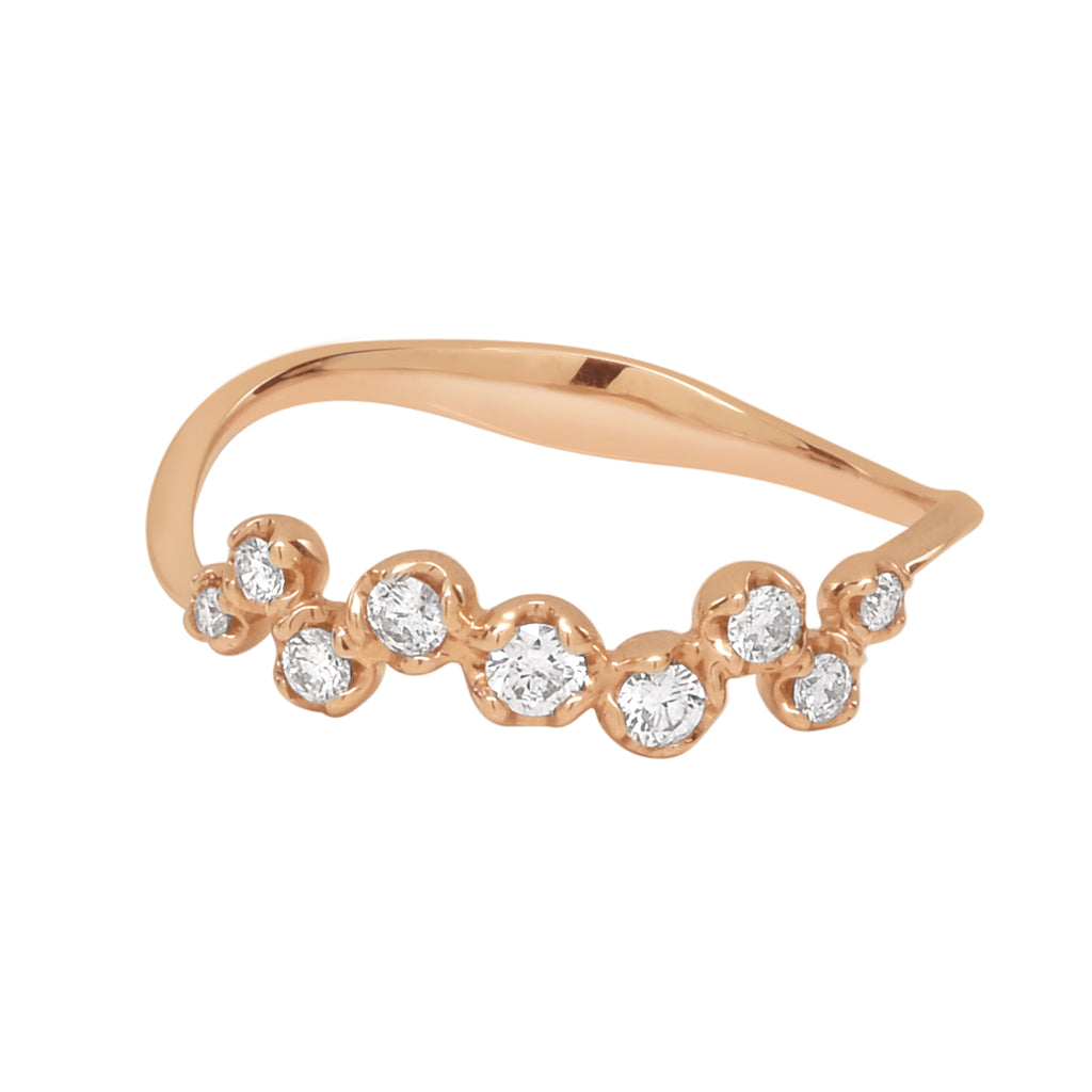 18K Round Uneven Multi-Diamond Ring