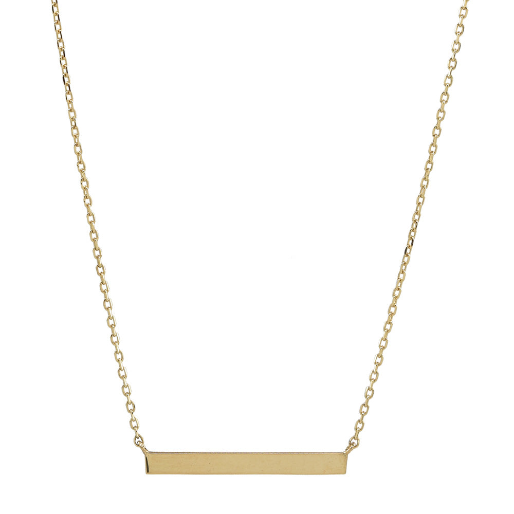 10k Solid Gold Thin Bar Necklace