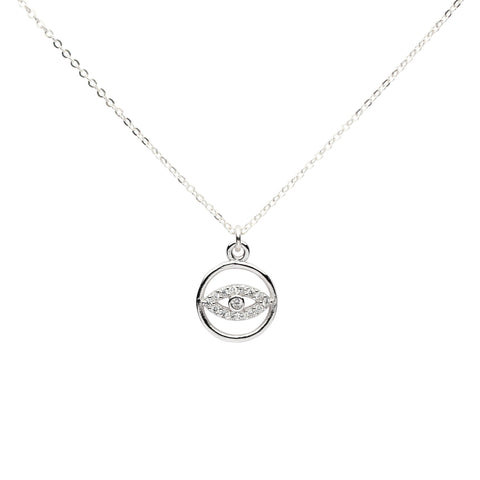 CZ Evil Eye within Circle Necklace