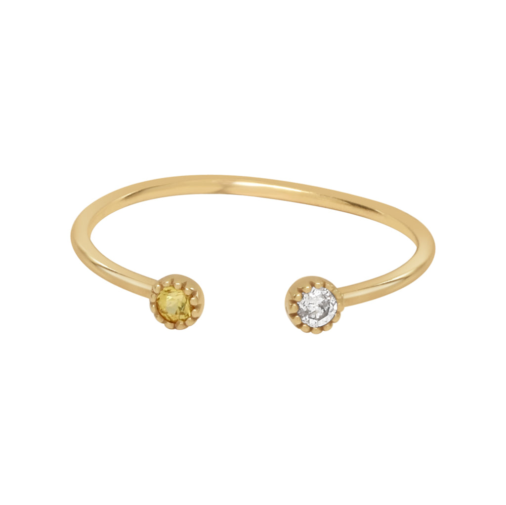 18K Diamond & Yellow Sapphire Open Band Ring
