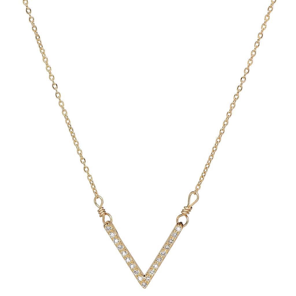 SALE - CZ Deep Chevron Necklace