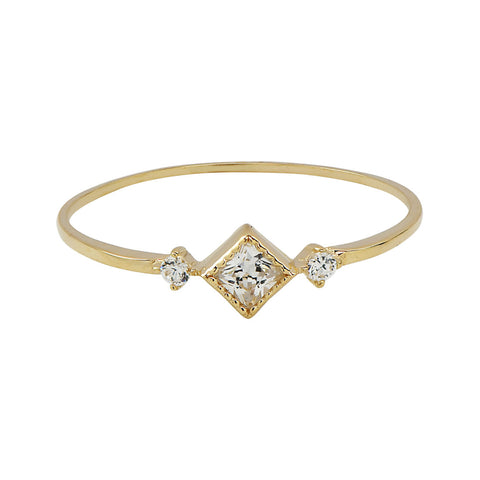 SALE - 10k Solid Gold CZ Diamond/ 2 Side CZ Ring