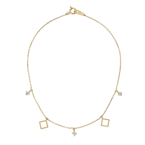 Solid Gold CZ & Twisted Diamond Shape Bracelet / Anklet