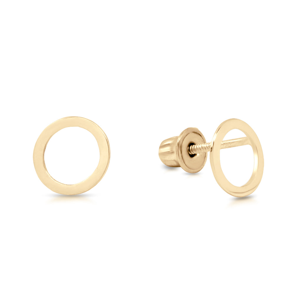 10k Solid Gold Cutout Circle Studs