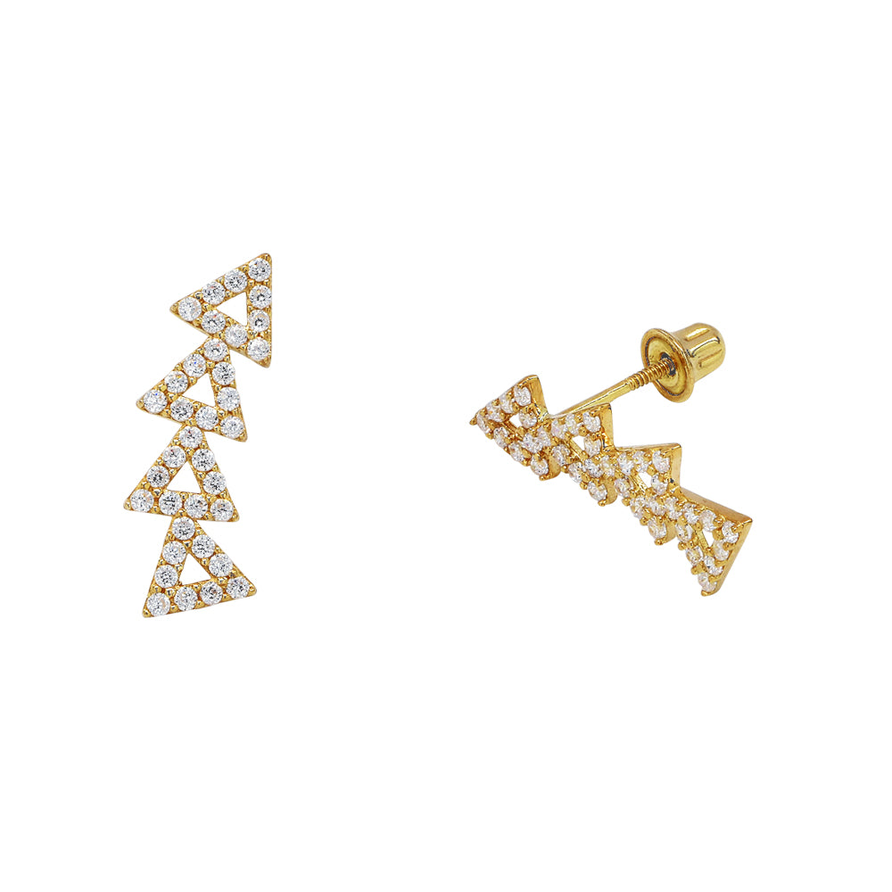 SALE - 10k Solid Gold CZ Open Triangle Crawler Studs