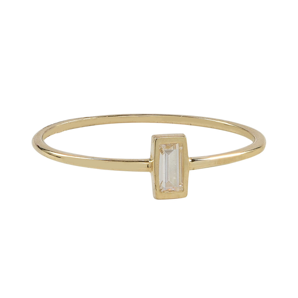Solid Gold Vertical CZ Baguette Ring