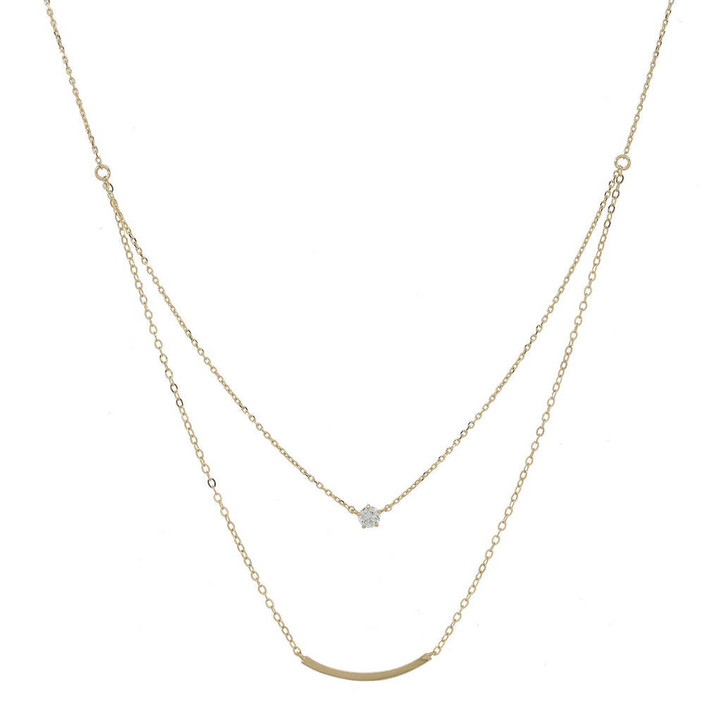 Solid Gold CZ / Curved Tube Double Strand Necklace