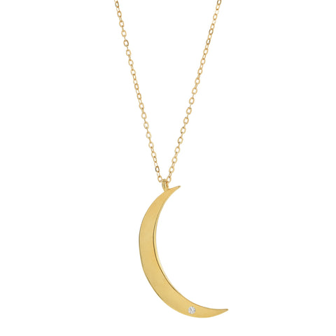 Crescent Moon With CZ Necklace