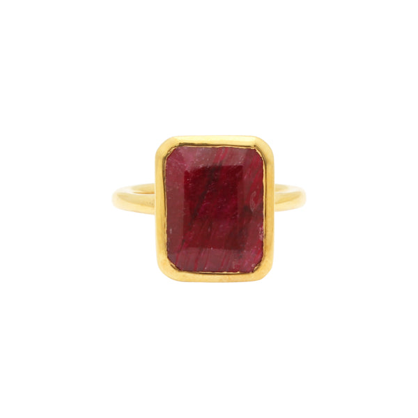 SALE - Large Ruby Baguette Gold Bezel Ring