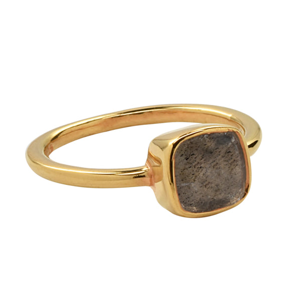 SALE - Mini Labradorite Cushion Gold Bezel Ring