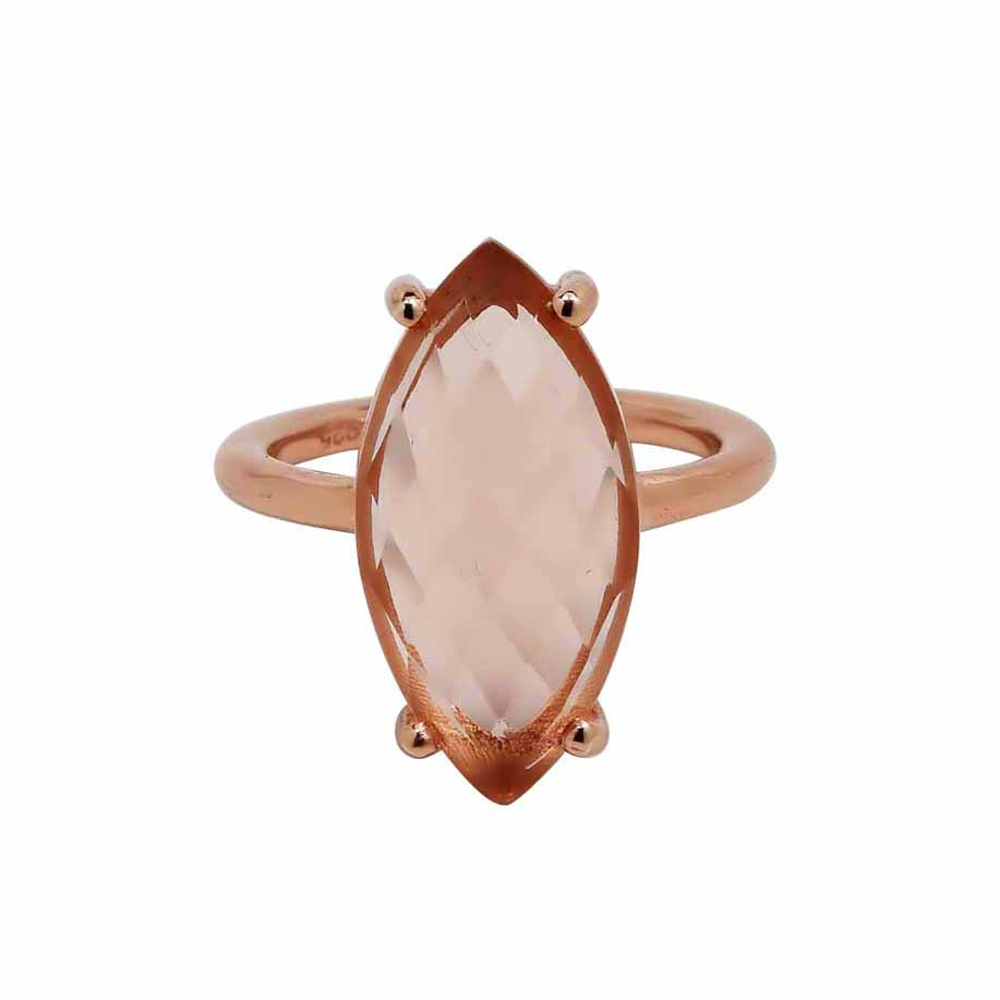 SALE - Morganite Marquise Rose Gold Bezel Ring