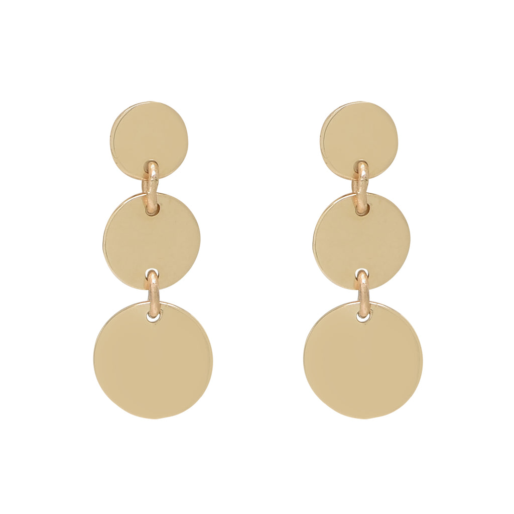 10k Solid Gold Triple Disc Drop Earrings