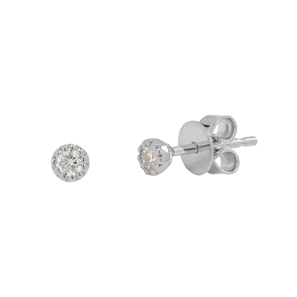 Diamonds Scalloped Prong Studs