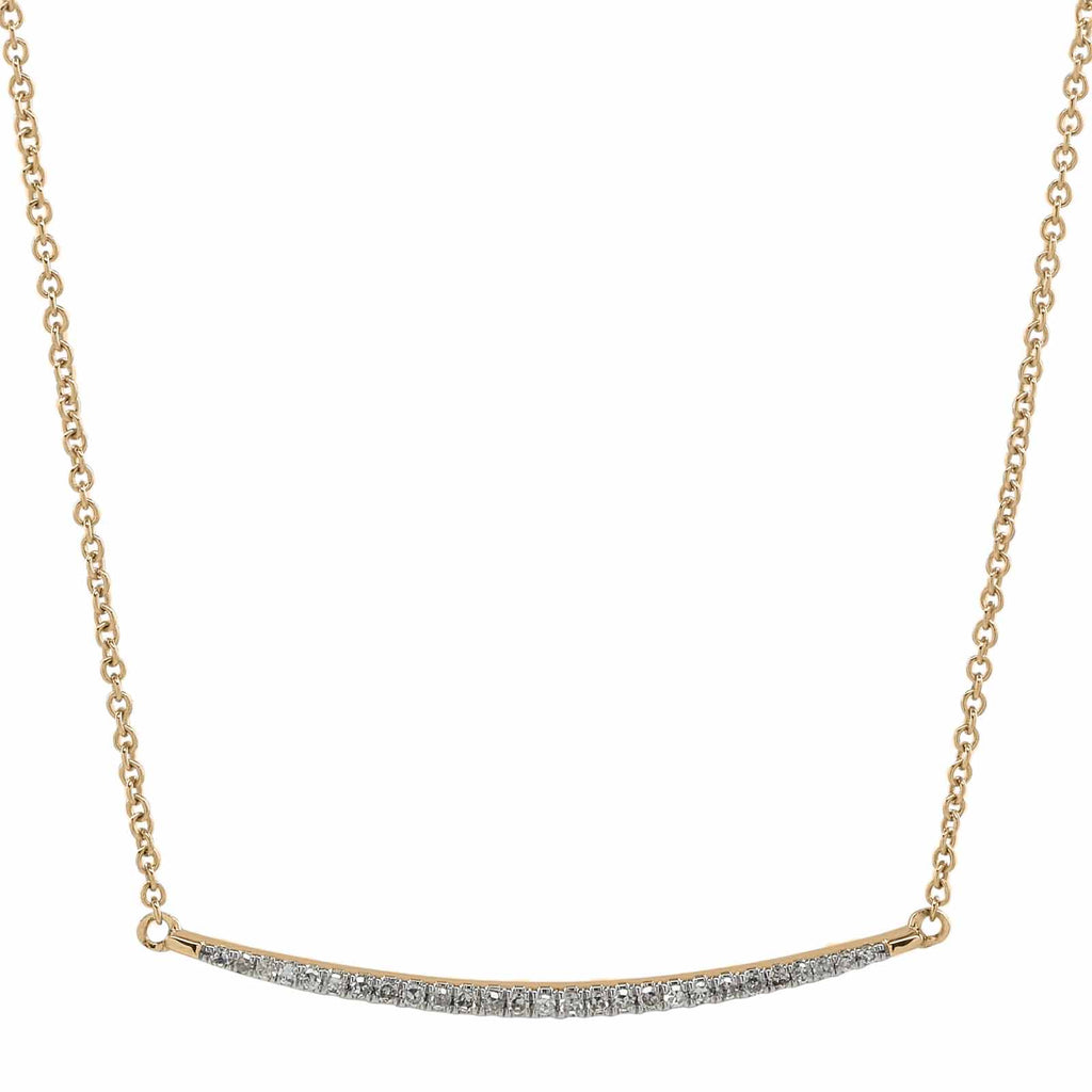 Thin Curved Bar Diamond Necklace