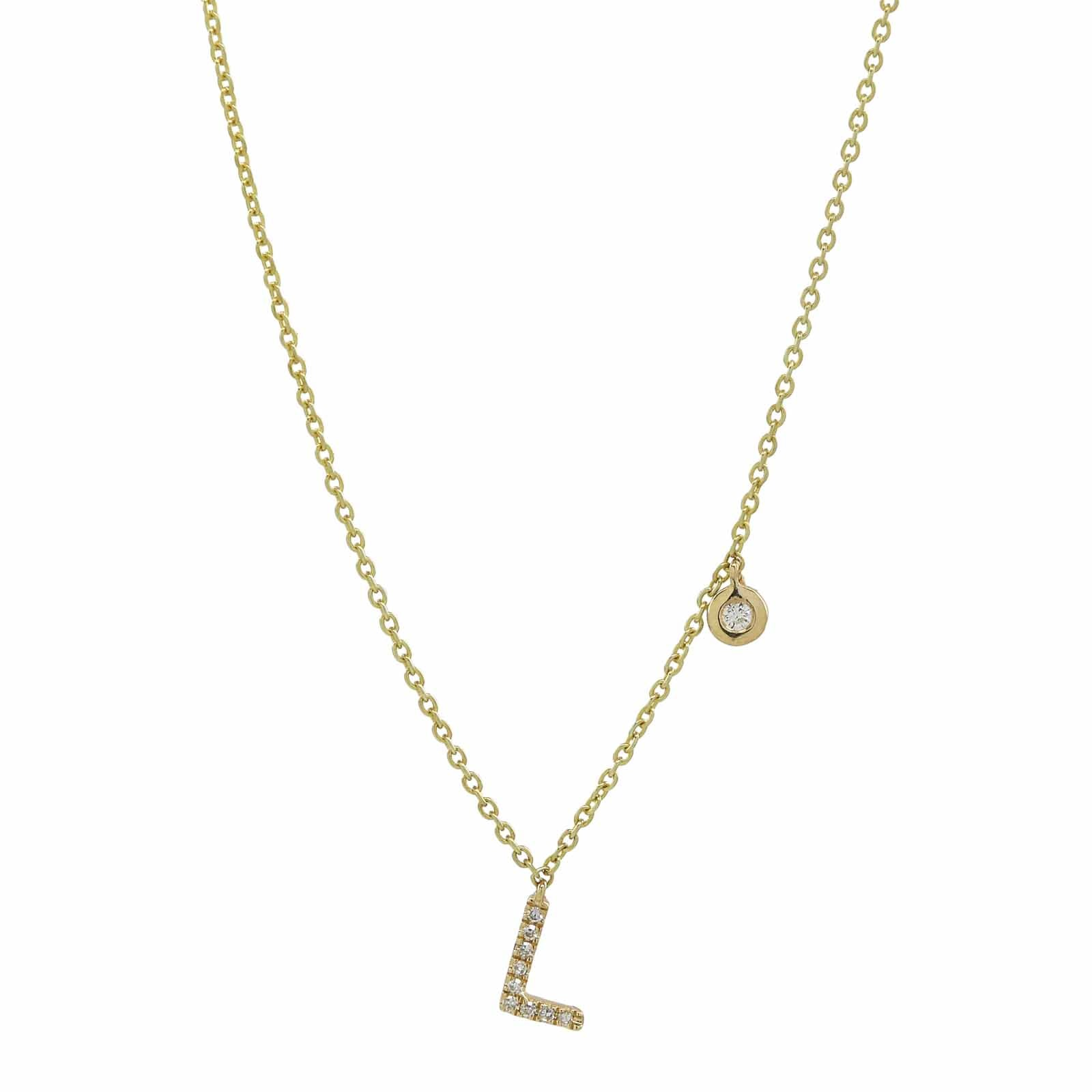 Bezel Diamond & Initial Necklace