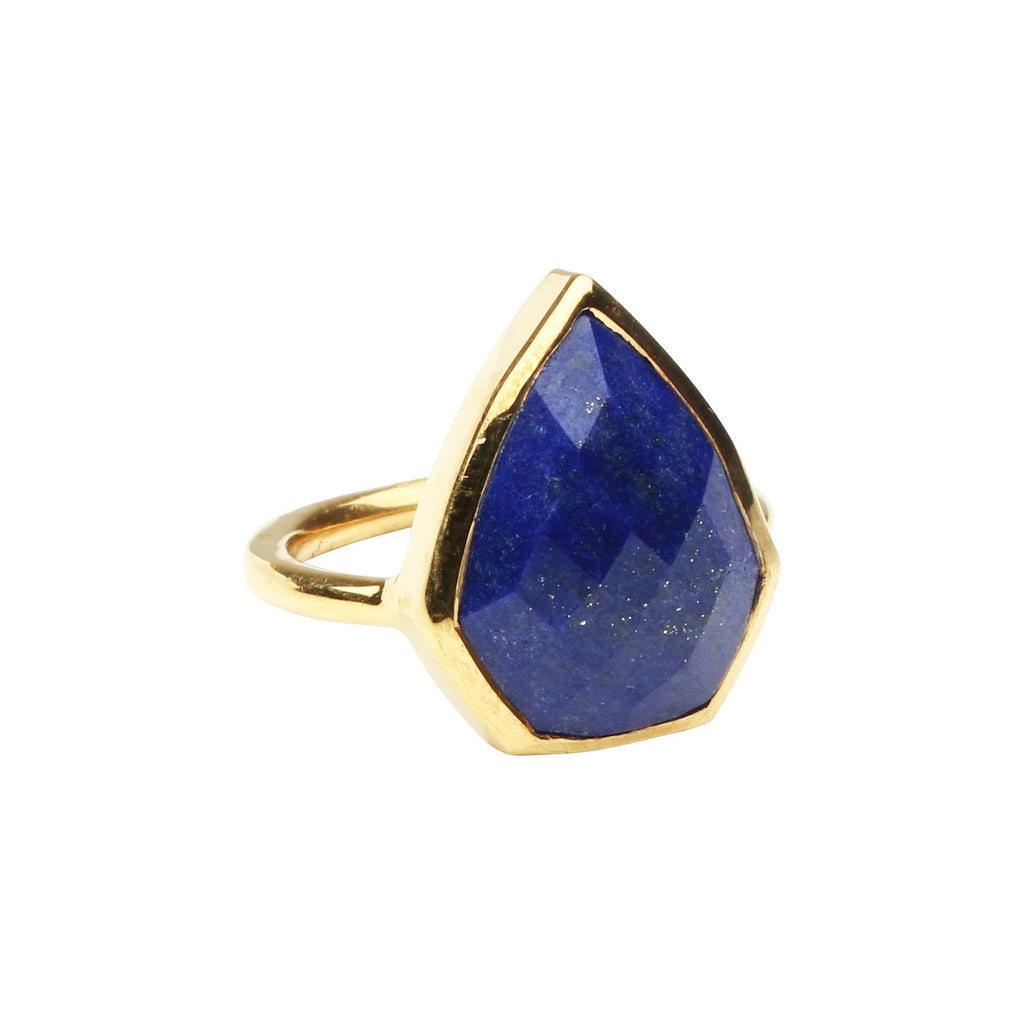 SALE - Lapis Diamond Shape Gold Bezel Ring