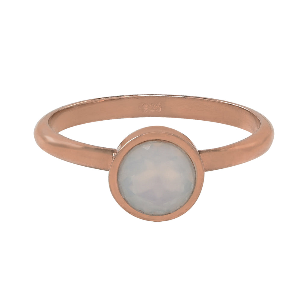 SALE - Round Opal Rose Gold Bezel Ring