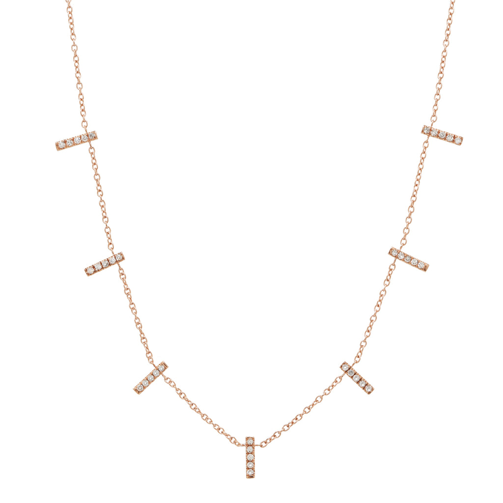 14k Diamond Multi-Bar Drop Necklace