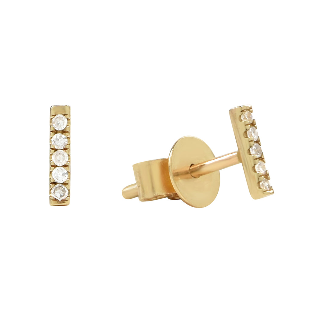 14k Tiny Diamond Bar Studs