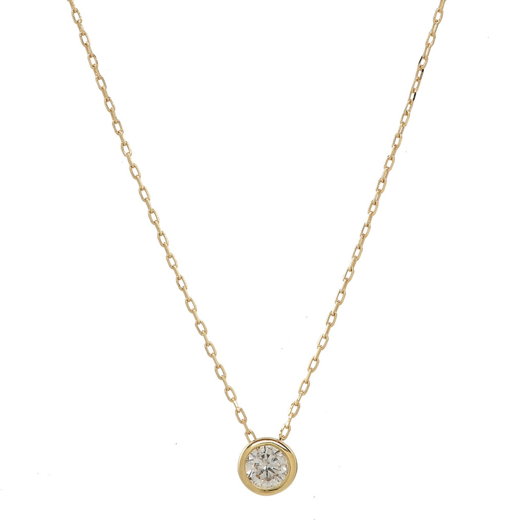 Single Diamond Bezel Necklace