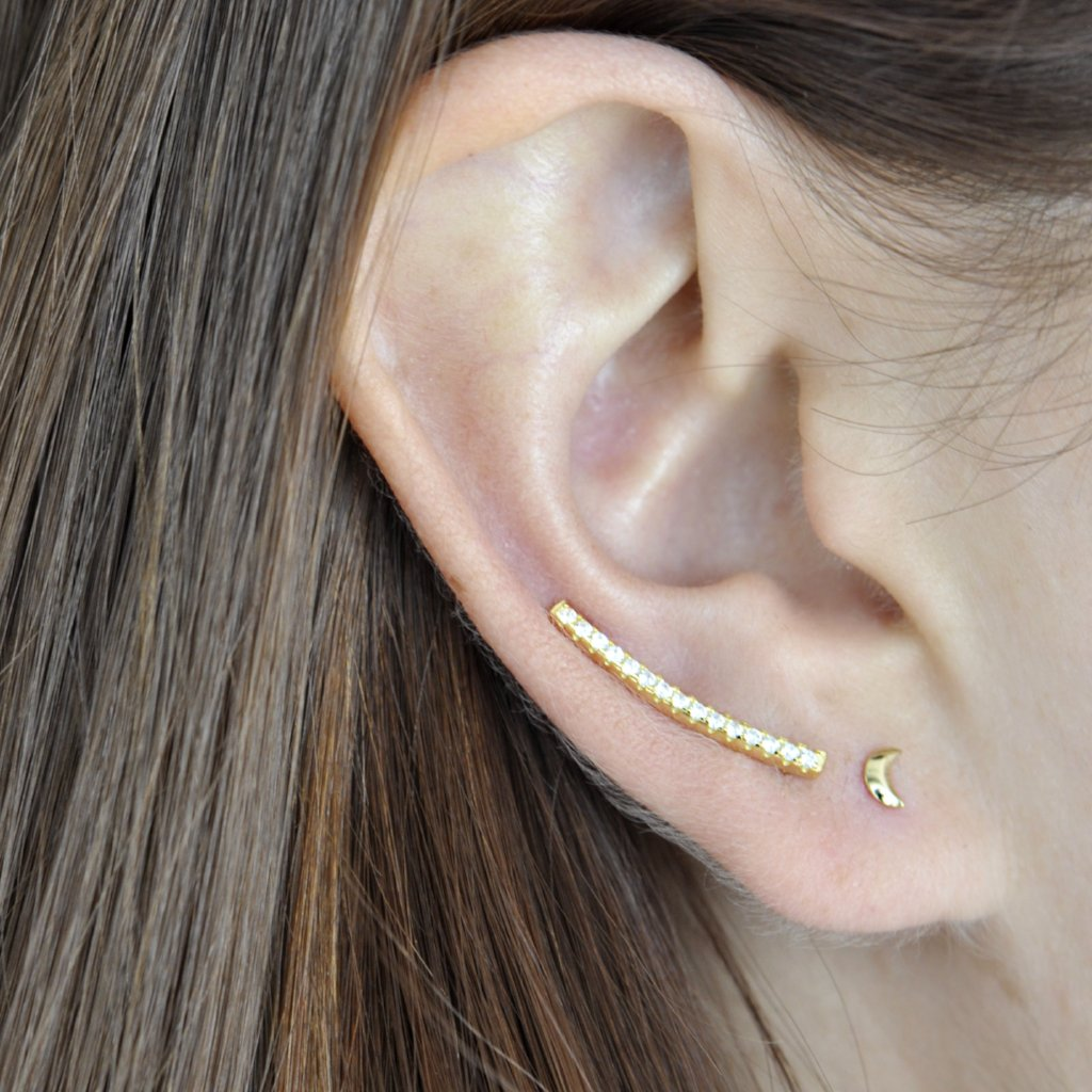 SALE - Curved CZ Ear Crawler