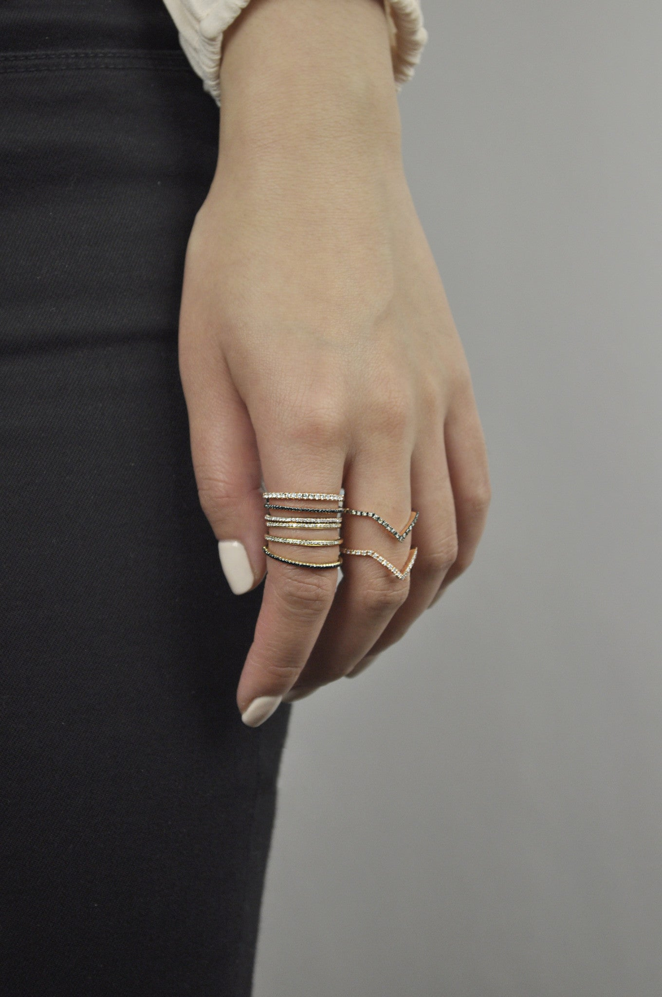 Diamonds Double Chevron Ring