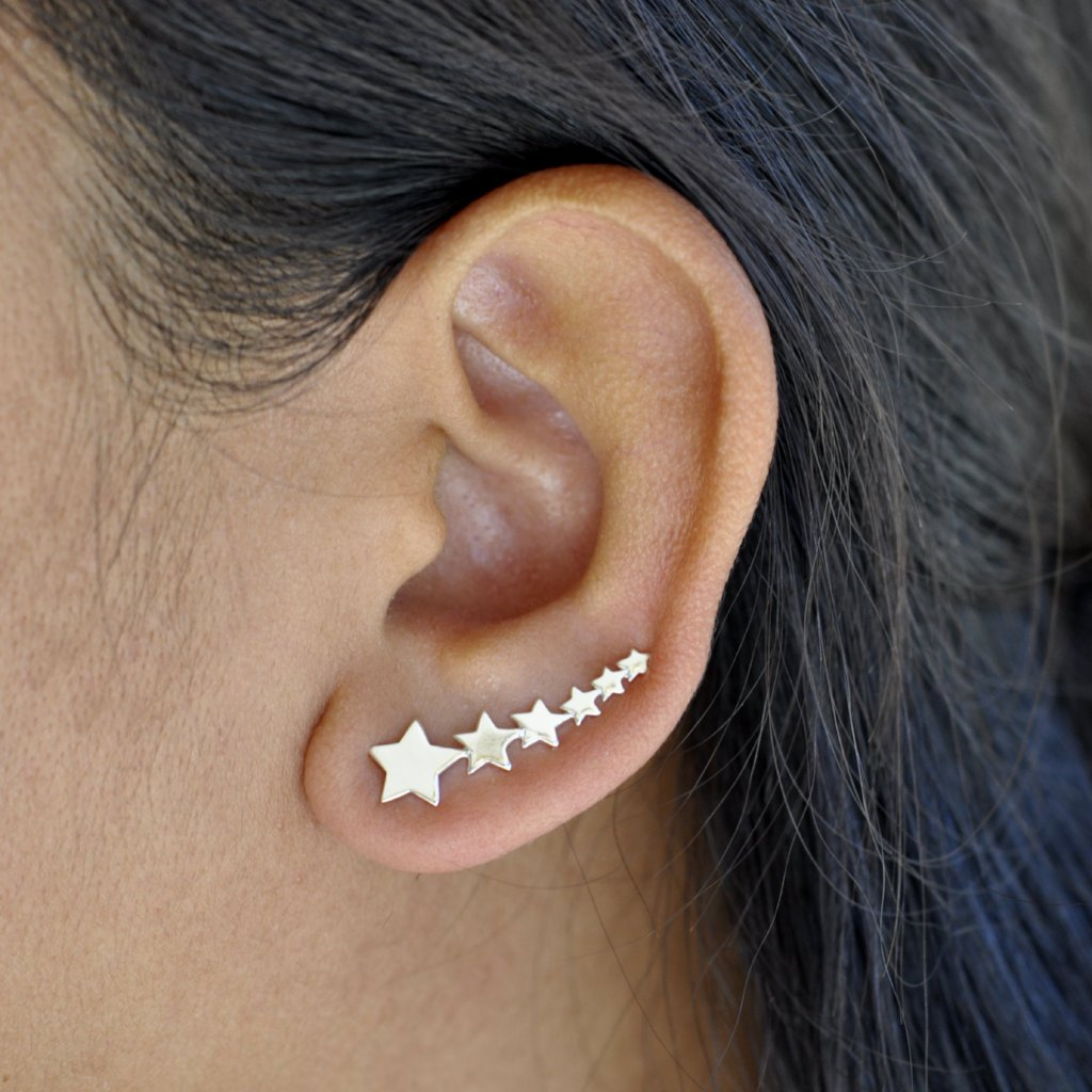 SALE - Curved Graduated Stars Ear Crawler
