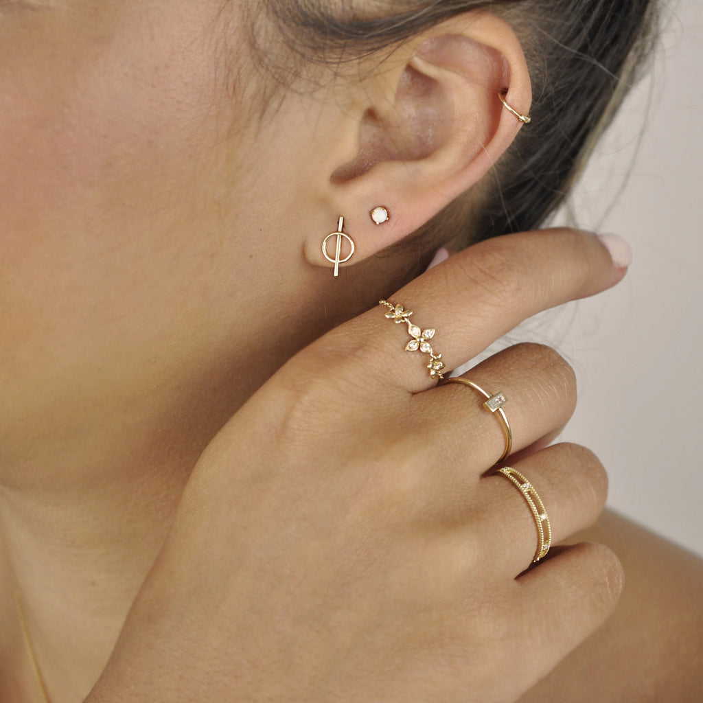 SALE - 10k Solid Gold Split Circle Studs