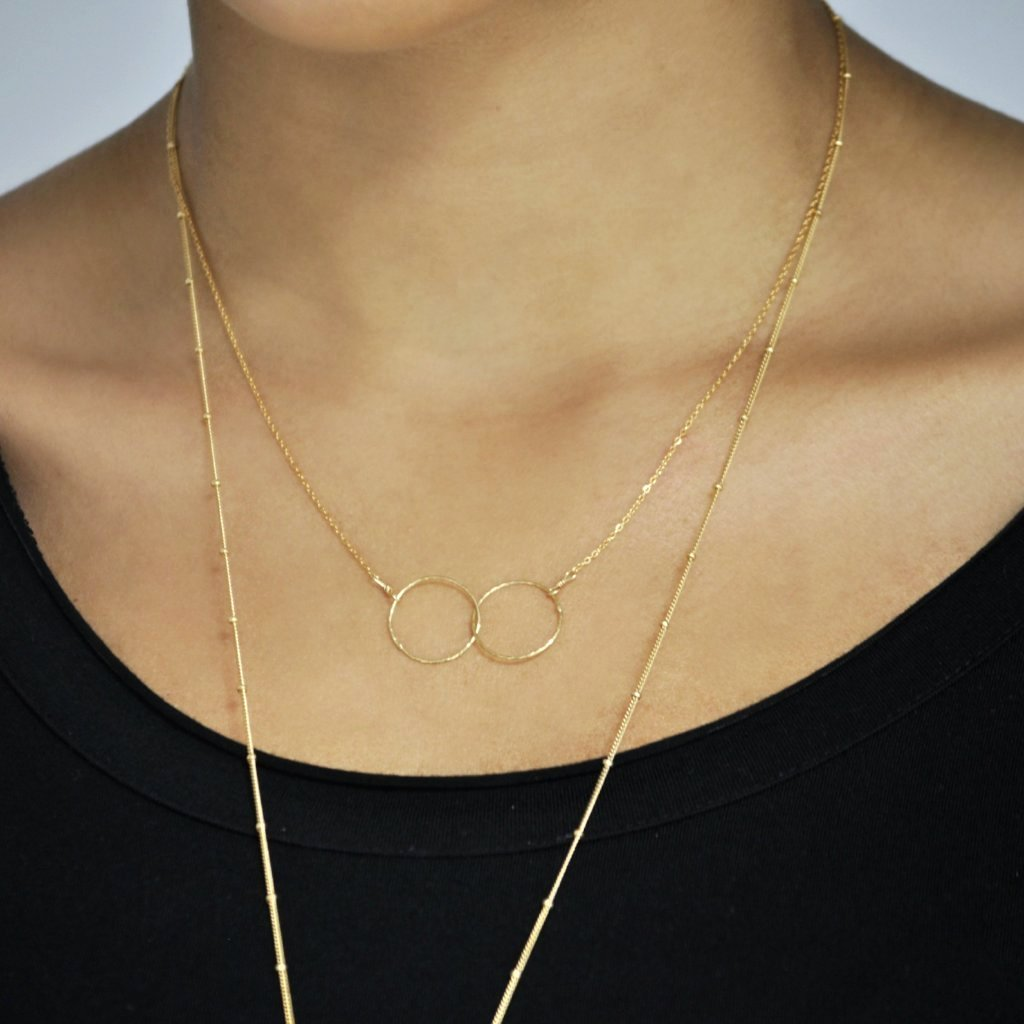 Double Diamond Cut Interlocking Circles Necklace