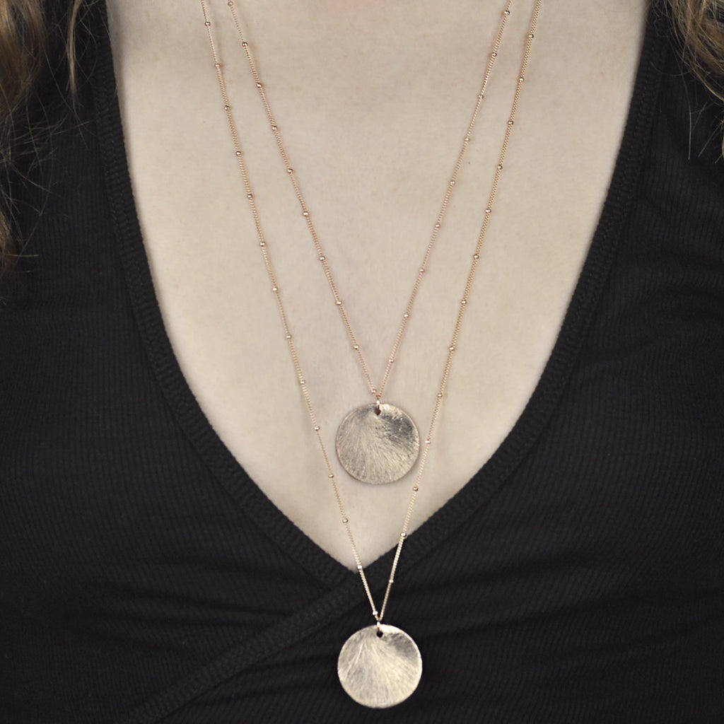 Brushed Disc Long Necklace