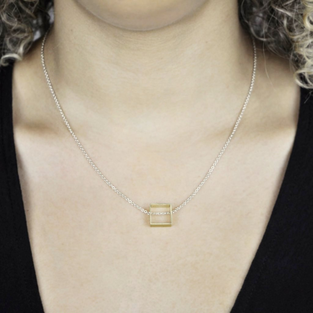 Brass Cubist Square Necklace