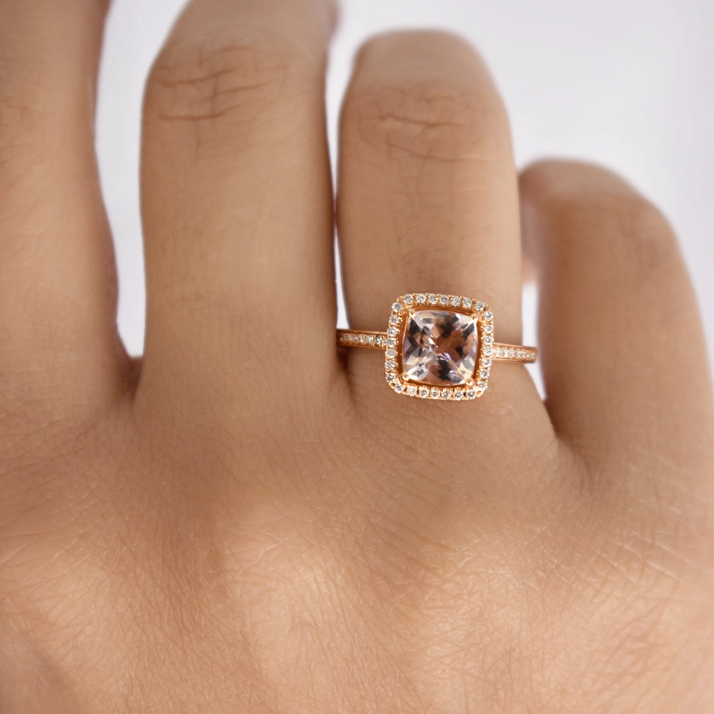 18K Morganite Cushion Diamond Ring