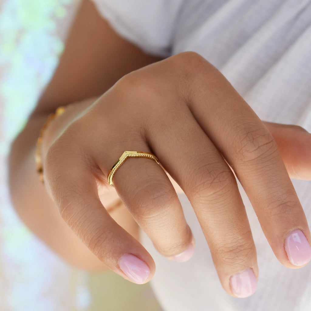 10k Solid Gold Textured & Smooth Chevron Ring