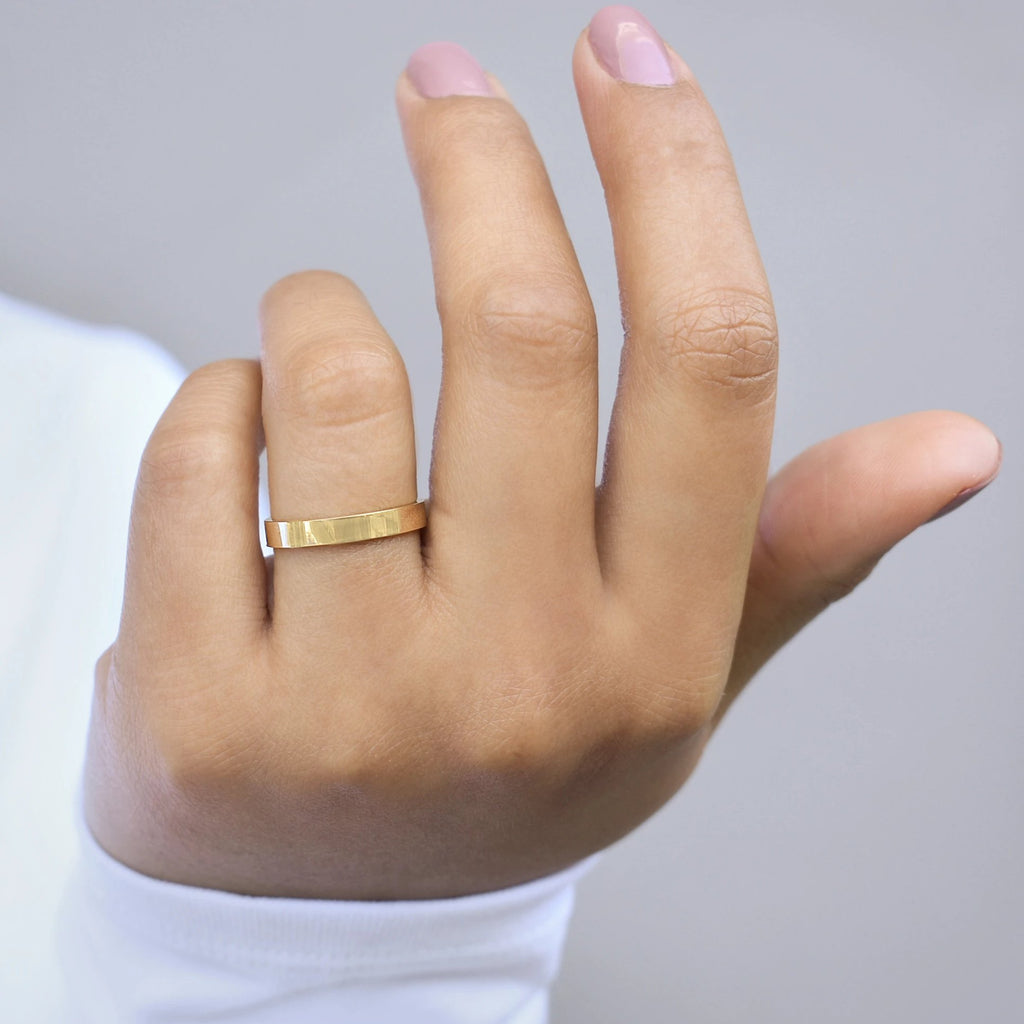 10k Solid Gold Flat Band Ring