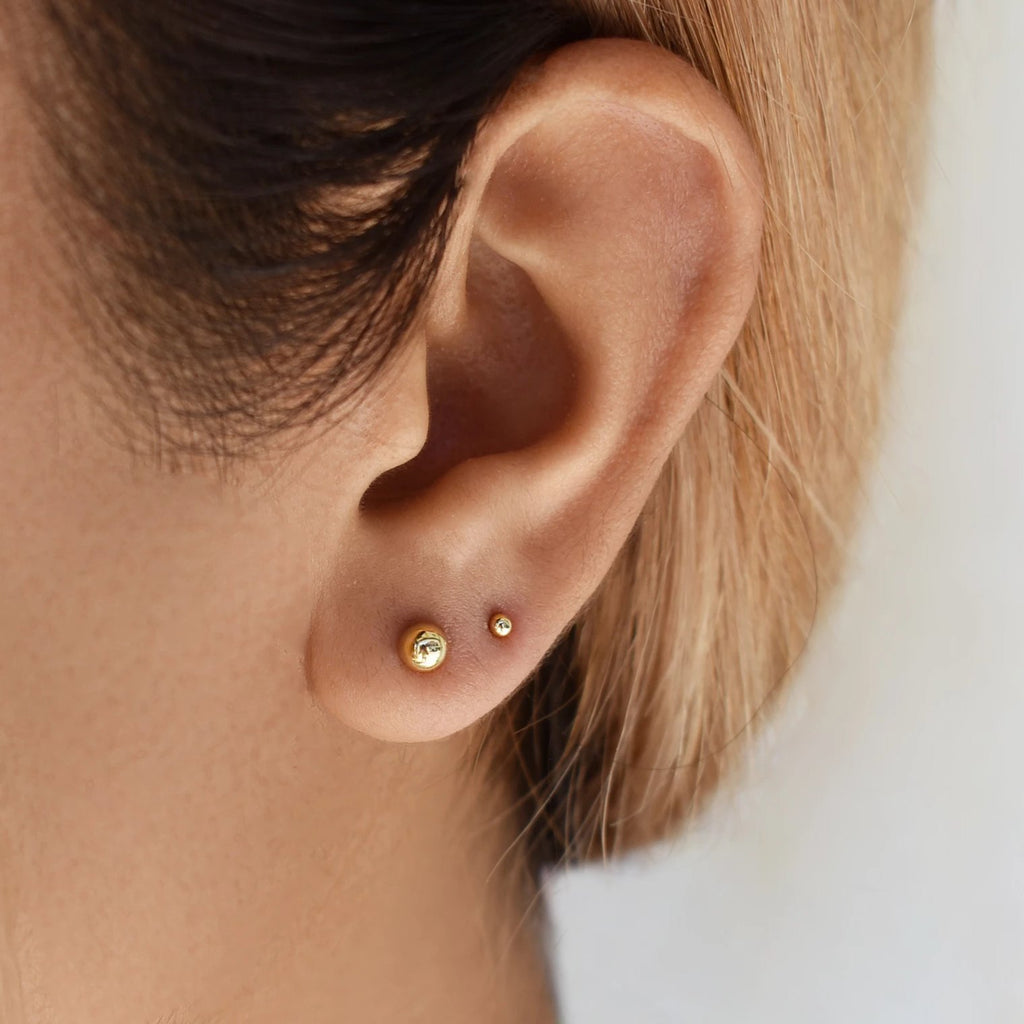 10k Solid Gold Sphere Studs