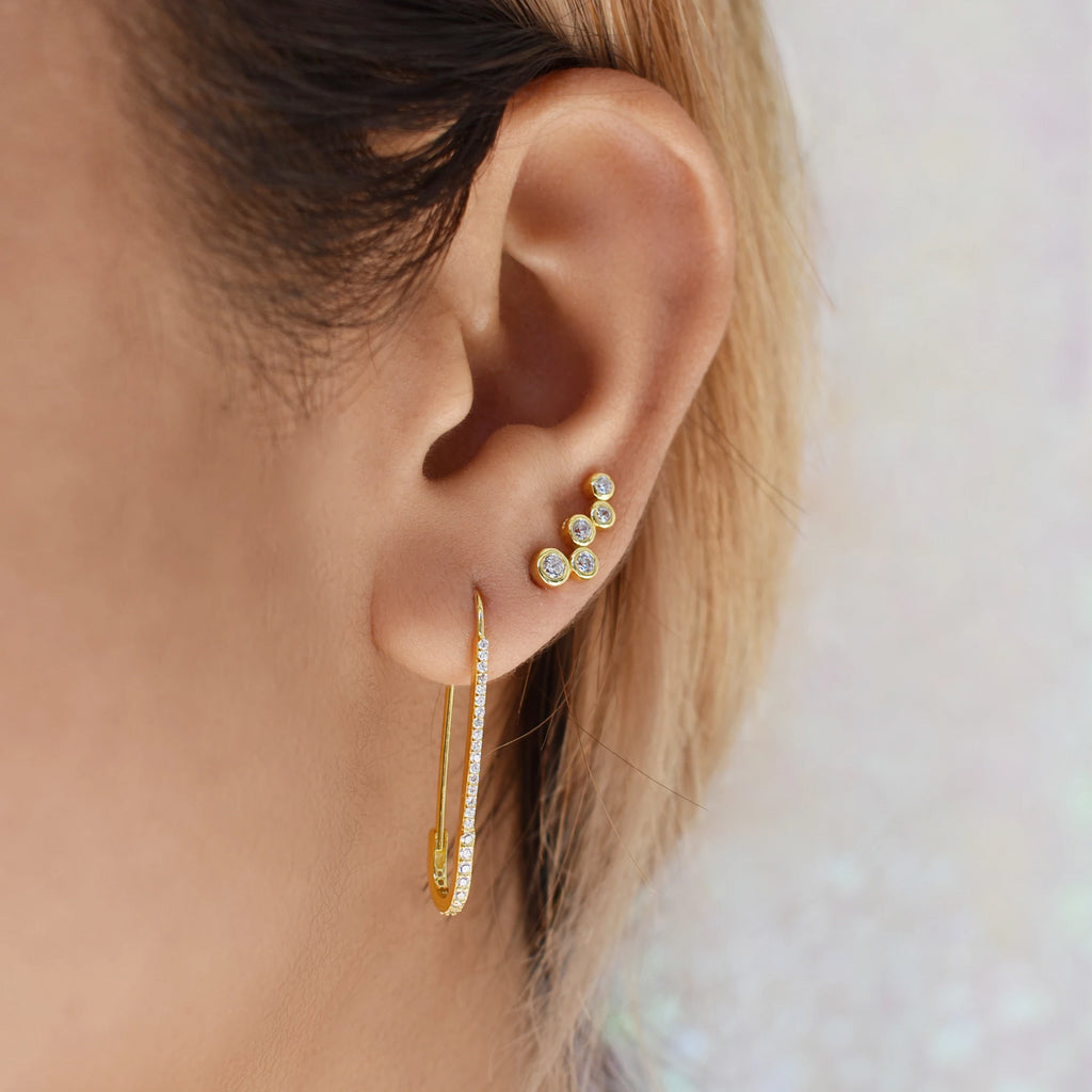 CZ Pin Earrings