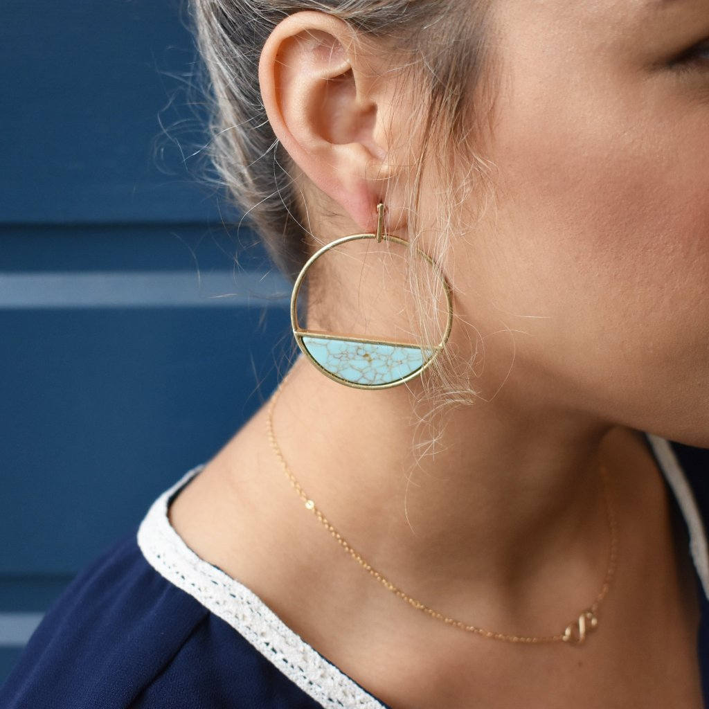 Large Turquoise Horizon Earrings