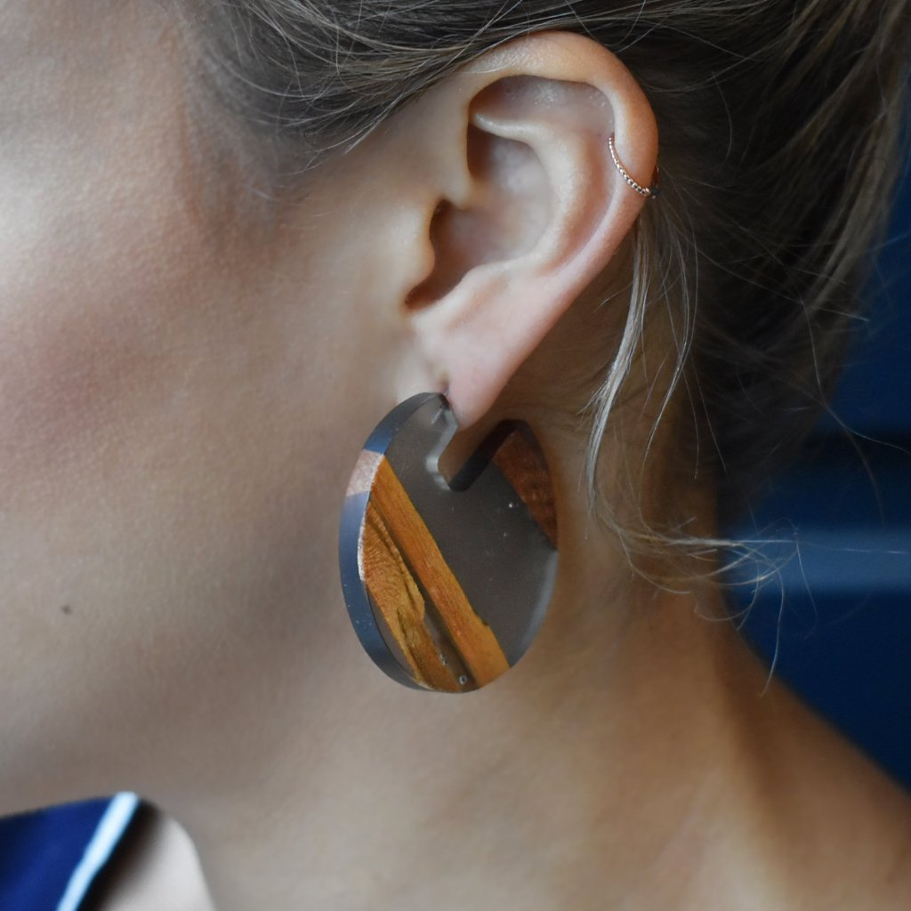 Black + Wood Striped Earrings
