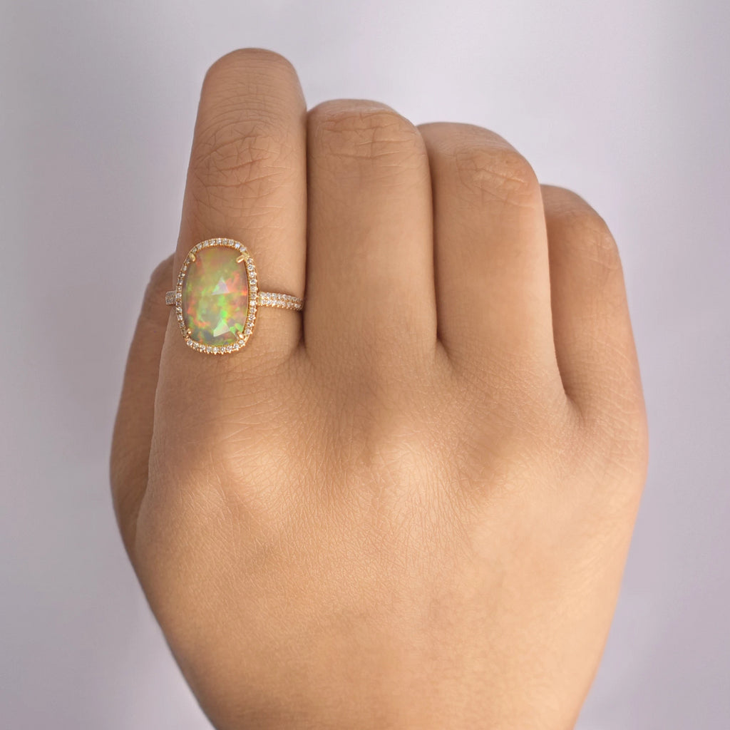 14k Diamond Opal Ring