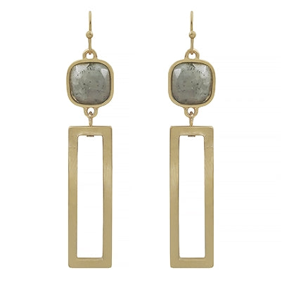 Square Stone w/ Open Drop Rectangle Earrings (more colors)