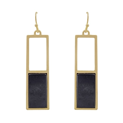 Half Stone Rectangle Marble Earrings (more stones)