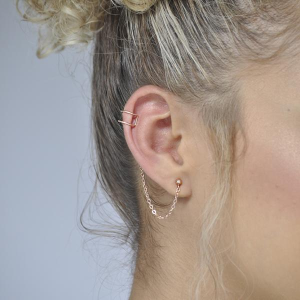 SALE - Stud with Attached Ear Cuff
