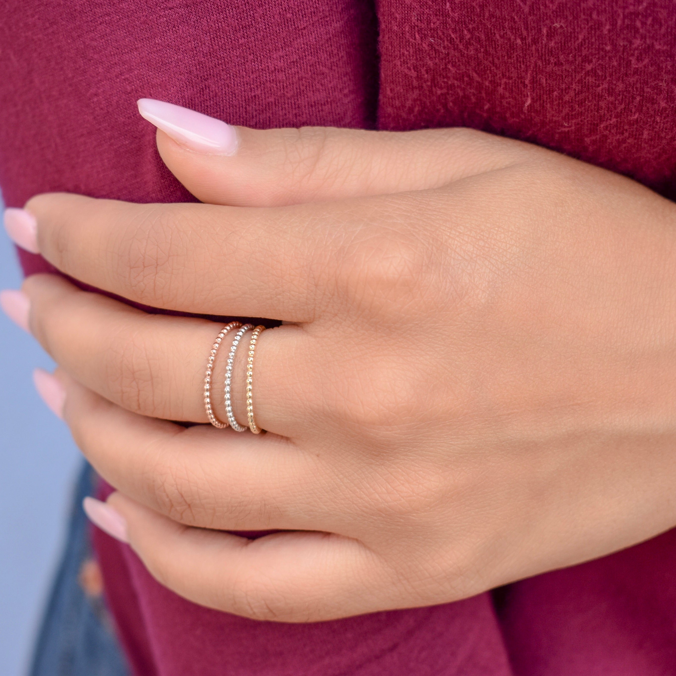 10k Solid Gold Beaded Ring