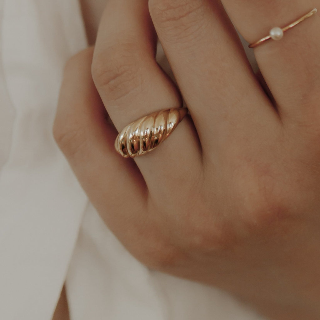 10k Solid Gold Croissant Dome Ring