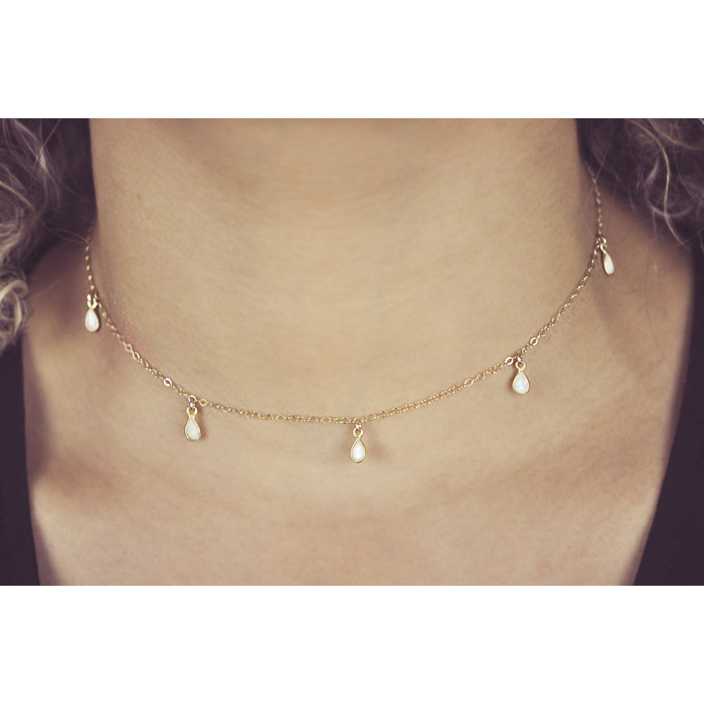 5 Dangle Opal Teardrop Choker