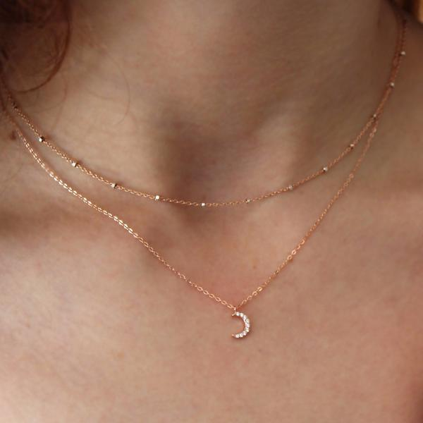 CZ Tiny Half Moon Necklace