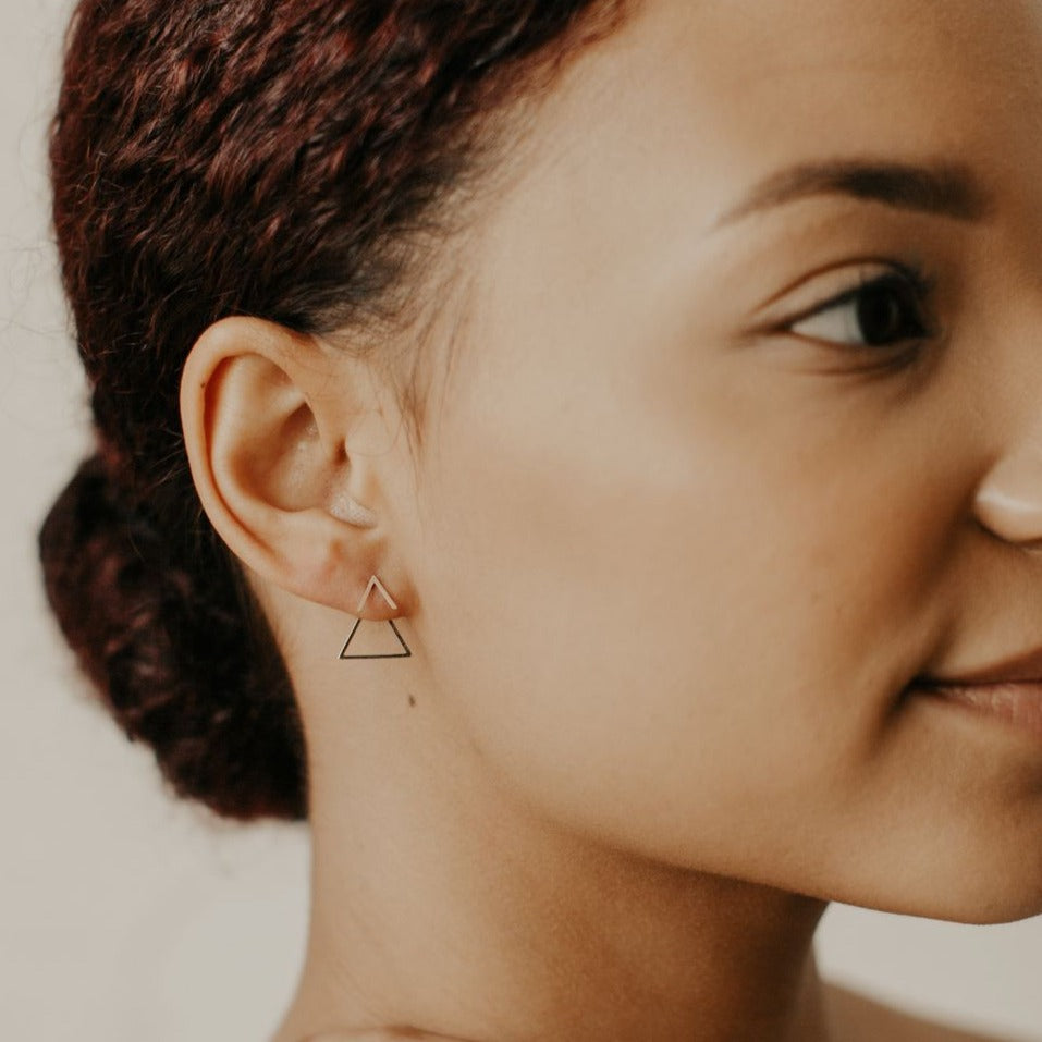 10k Yellow Gold Triangle Chevron Ear Jacket Studs on model