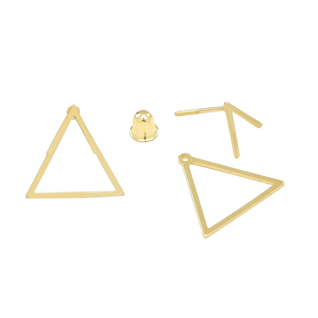 10k Solid Gold Chevron Triangle Ear Jacket Studs