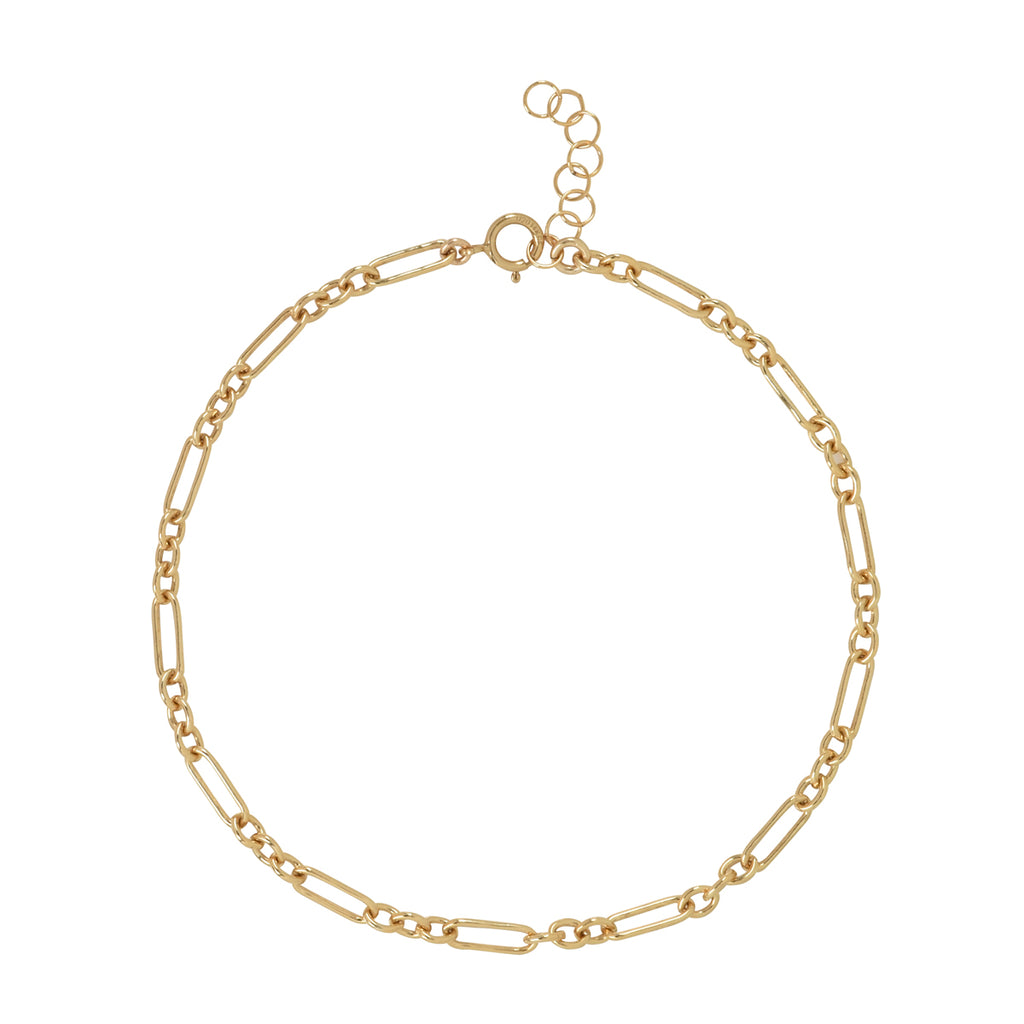Elongated Oval & Round Link Chain Anklet